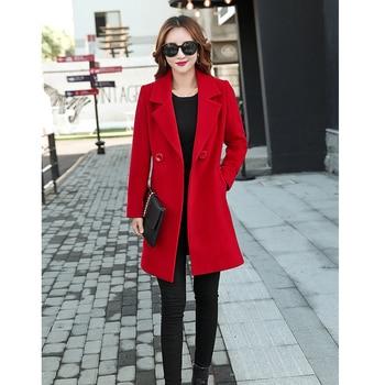 Winter Slim Large size Women Woolen Jacket 2020 New Casual Medium long Solid color Long sleeve Women Woolen Jacket S-4XL SES772 6