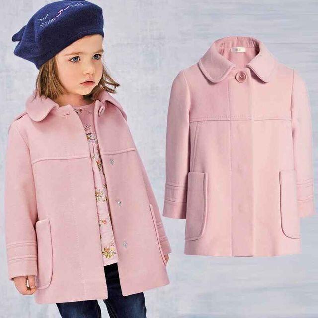2016 Children Girls Winter Coat Pink Lapel Wool Blends New Fashion Winter Outwear Girls Winter Clothing