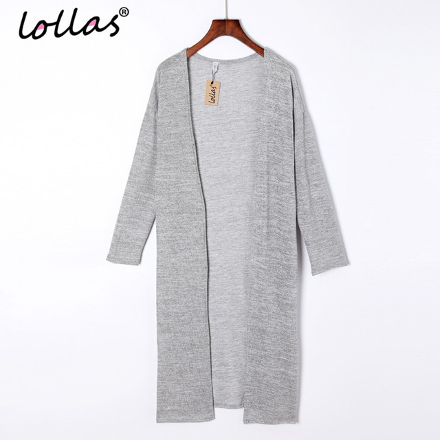 lollas New Casual Women Gray Black Crochet Knitted Cardigan Long-sleeve Solid Color Sweater Cardigans Blouse