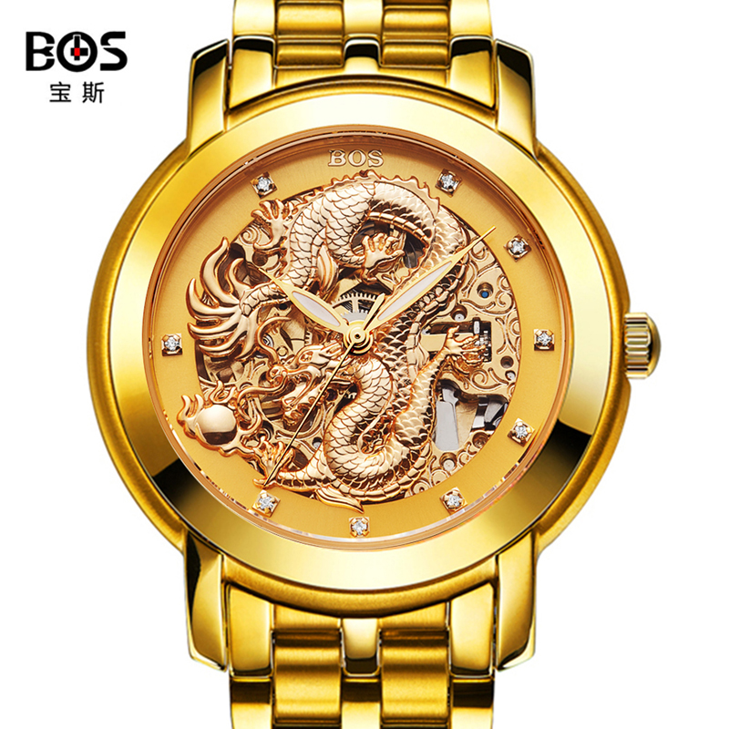BOS brand watches men fashion casual skeleton wristwatches Chinese dragon automatic wind mechanical watch gold steel band fashion men mechanical hand wind watches men skeleton stainless steel wristwatches for male luxury golden watch men