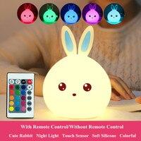 Coelho led night light sensor de toque controle remoto rgb usb recarregável silicone coelho quarto lâmpada cabeceira para crianças bebê