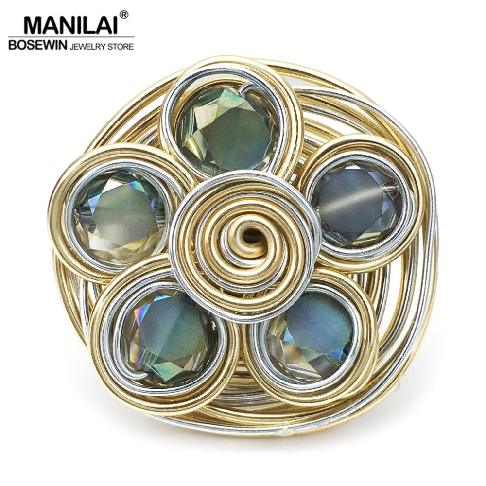 MANILAI Helical Wound Crystal Big Rings For Women Fashion Jewelry Gold Color Wire Beads  ...