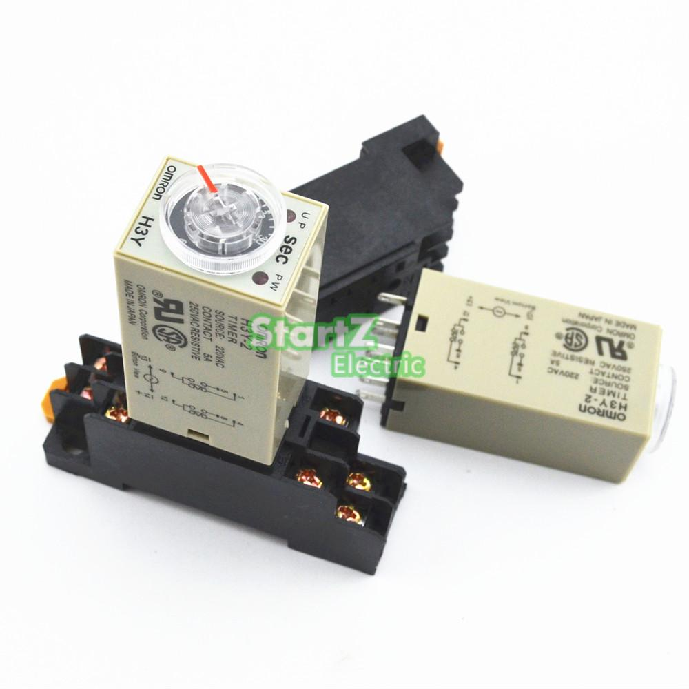 H3Y-2 AC220V Delay Timer Time Relay 0 - 1 SEC with Base genuine taiwan research anv time relay ah2 yb ac220v