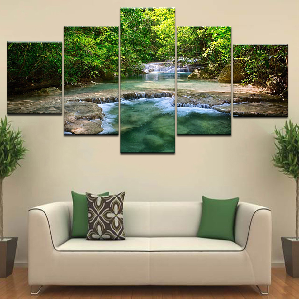 Wall Art The waterfall in green forest modern posters Canvas painting 5 Panel HD Print For home living room decoration