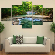 Wall Art The waterfall in green forest modern Wall posters Canvas Art painting 5 Panel HD Print For home living room decoration naturally beautiful places in india landscape 5 panel hd print wall posters canvas art painting for home living room decoration