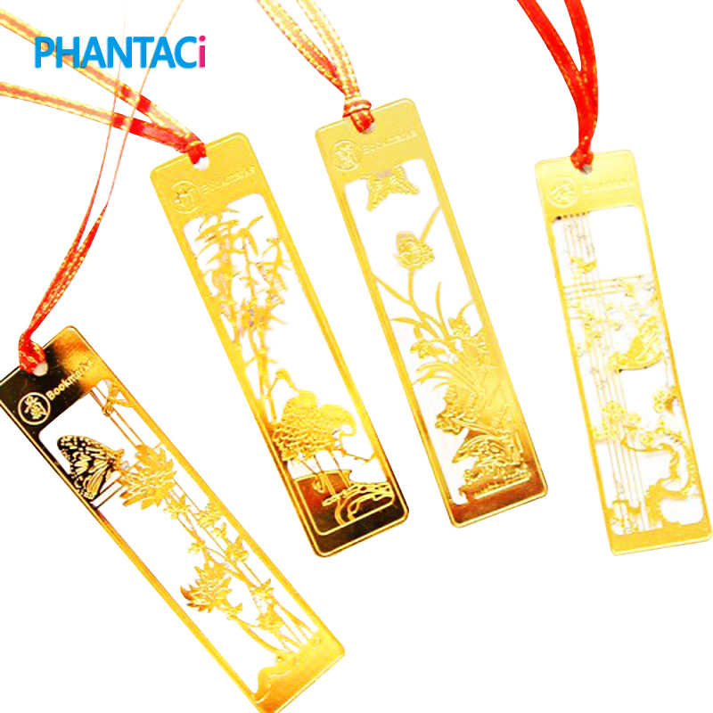 4 Pcs Lot Classical Chinese Style Metal Bookmark Merlin Bamboo