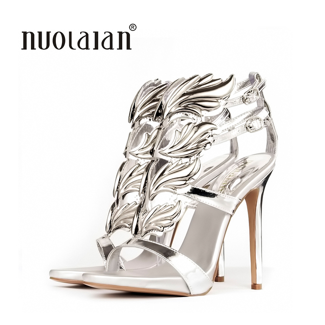 0d773690bd09 Hot sell women high heel sandals gold leaf flame gladiator sandal shoes  party dress shoe woman patent leather high heels