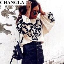 Здесь можно купить  CHANGLA new women string decorate sweatshirt long lantern sleeve oversized pullover lady loose chic tops casual wear sudaderas