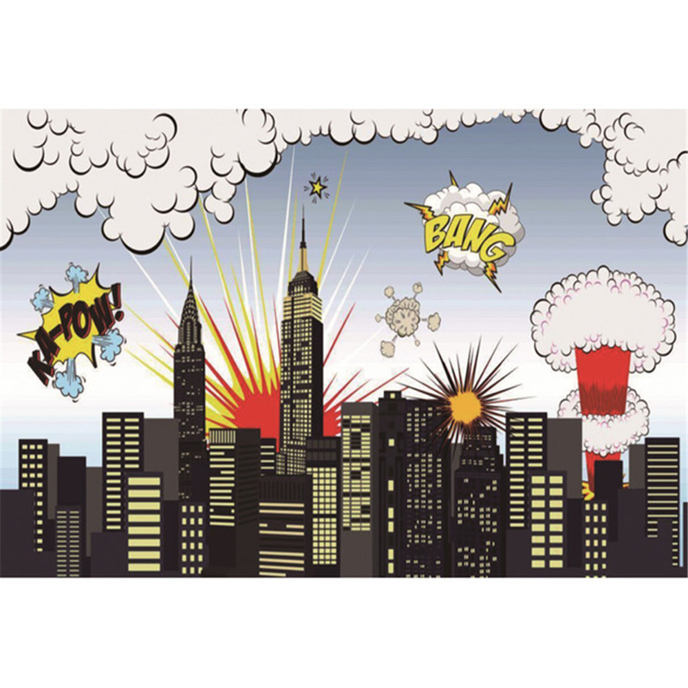 Superhero Cartoon Backdrop Photography Printed City Buildings Big Bang Children Kids Boy Birthday Party Photo Booth Background