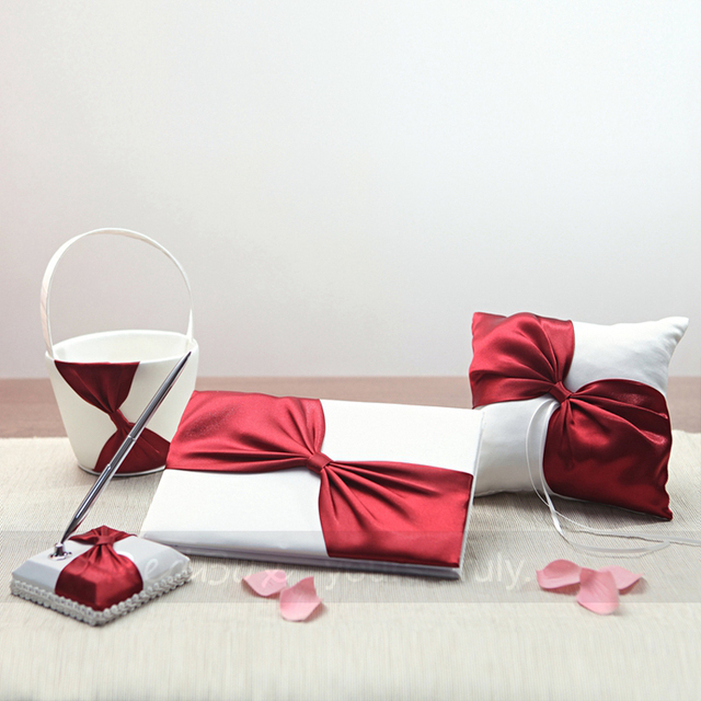 4Pcs/set Top quality Red Satin Wedding Decoration Bridal Ring Pillow Flower Basket Guest Book Pen Set wedding decor Supplies
