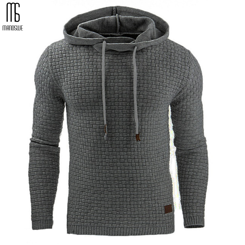 Manoswe Men's Solid Casual Long Sleeve Sweatshirts Gray Slim Hooded Pullover Fashionable Oversized Hoodie S-5XL