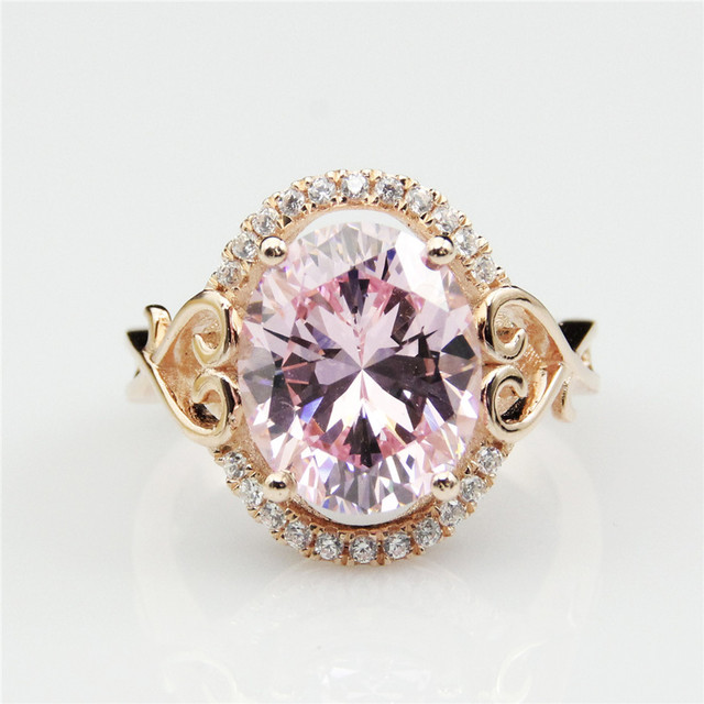 Oval Cut 10x12m Simulated Morganite Gemstone 925 Sterling Silver Pave Accents Engagement Ring Fine Jewelry For Women