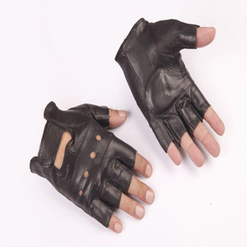 Sheepskin men hunting half finger gloves cycing outdoor sports equipment leather half finger climbing gloves