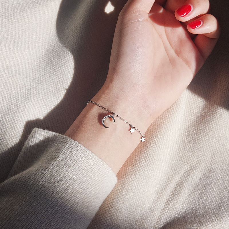 Silver Art Moon Stars Bracelet With Zircon FriendshipChain Bracelets Star Moon Charm Bracelets Women