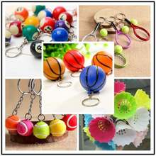 plastic basketball Bag Pendant Mini basketball Keychain men car key rings Sports Souvenir party favor School birthday Gifts(China)