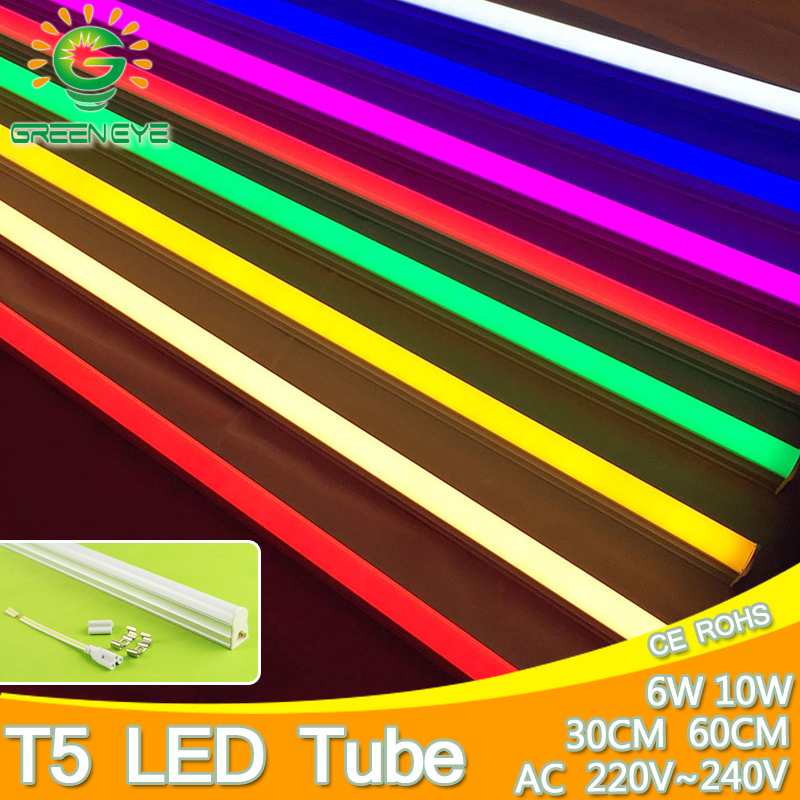 10W 6W LED Tube T5 Light 220V 240V 60cm 30cm led T5 lamp led wall lamp Warm Cold White Red Green Blue led fluorescent light T5 2pcs set t5 led light tube ac85 265v 2 5w wall lamps 1ft led t5 tube fluorescent lamp lights connect cord power switch cable