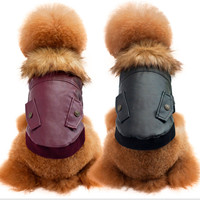 New Faux Leather Pet Cat Dog Costume Warm Winter Dogs Clothes Coat Fleece Warm Jacket Two