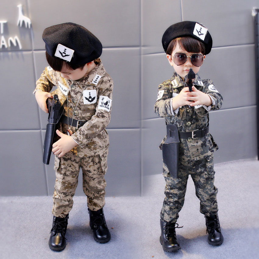 Children Descendants of The Sun Halloween Cosplay Costumes Kids Boys Army Suit Military Uniform Camouflage Tactical Jacket