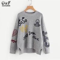 Dotfashion/серые плетеные женские свитера с вышивкой и ступенчатым подолом; коллекция 2019 года; Осенняя повседневная одежда; объемный пуловер с д...