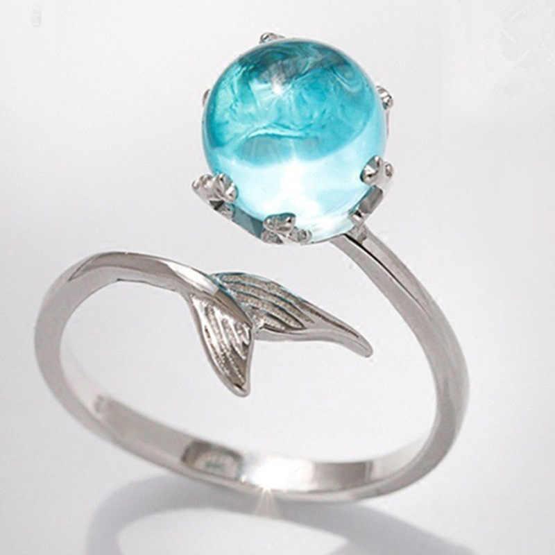 สไตล์การออกแบบบุคลิกภาพ Mermaid โฟมคริสตัลแหวนสำหรับสุภาพสตรี Silver Finger aquamarine 925 แหวน