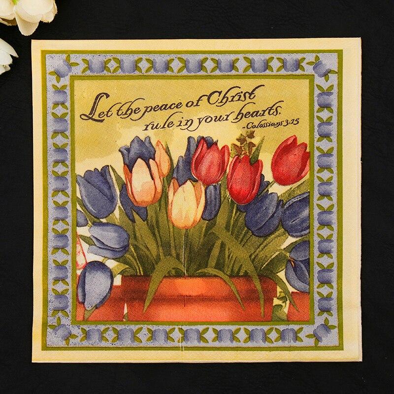 New Vintage Tulips Flowers Paper Napkins Cafe&Party Tissue Napkins Decoupage Decoration Paper 33cm*33cm 20pcs/pack/lot
