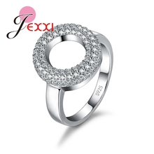 Size 7-8 Unique Elegant Vintage Women Hollow Circle 925 Sterling Silver Rings CZ   Girls Ring Luxury Wedding Jewelry