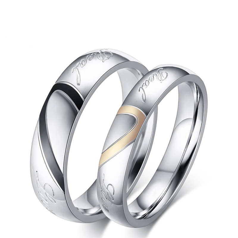 Hot Sale Stainless Steel Silver Plated Half Heart Simple Circle Real