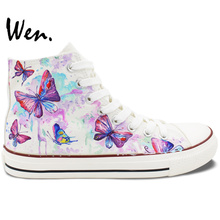 Wen White Hand Painted Shoes Design Custom Colorful Butterfly Women Men's High Top Canvas Sneakers for Gifts
