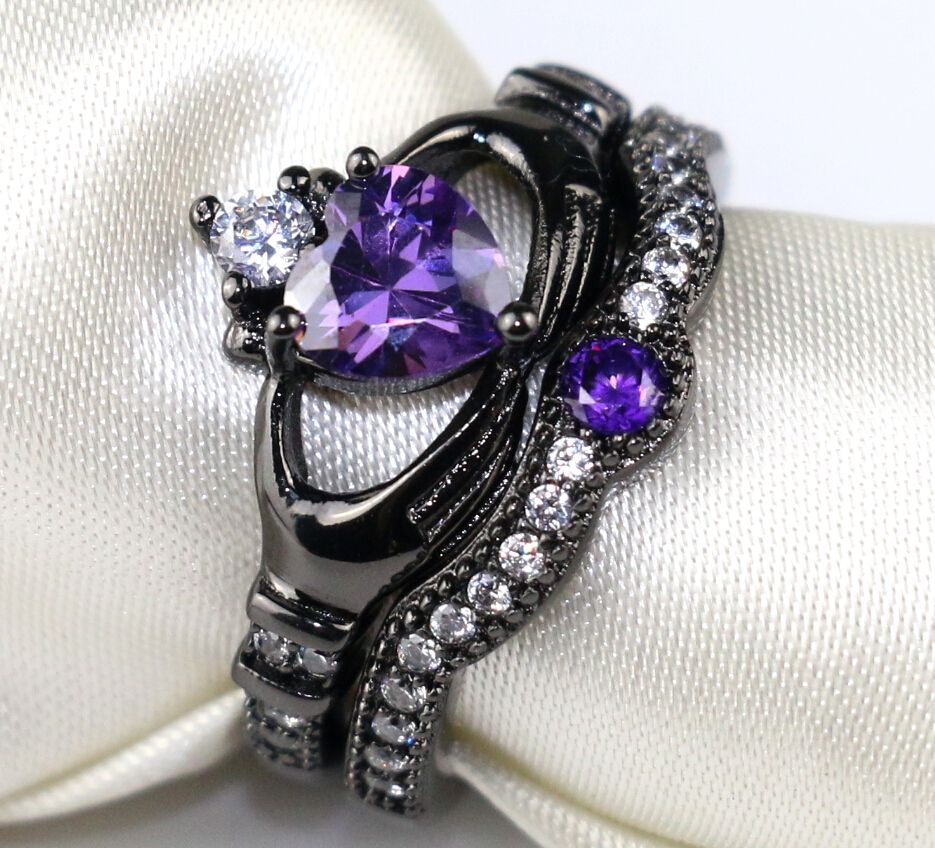 Irish Claddagh Ring Black Gold Filled Heart Shape Purple Zircon Wedding Ring  Cz Women's Engagement Ring Sets 35 Days To Usa