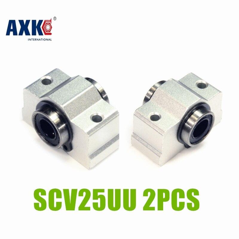AXK 2PCS SC25VUU SC25V SCV25UU SCV25 25mm linear bearing block DIY linear slide bearing units CNC router SCV25UU 2PCS scv25uu 25 mm linear motion ball bearing slide unit bushing