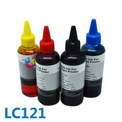 Wysokiej jakości 4 kolor * 100ml dla brata LC121 luzem drukarki atrament barwnikowy nadaje się do DCP J172W/J752W/ j132W/J152W/J552W/MFC J870DW w Zestawy do napełniania tuszu od Komputer i biuro na
