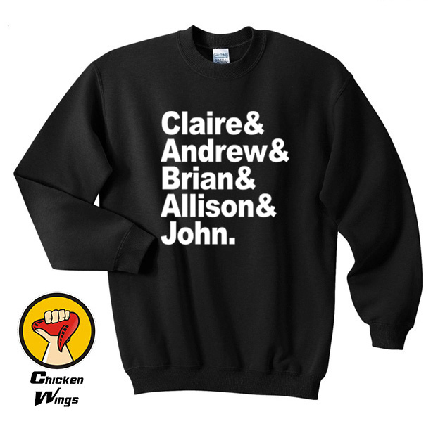 The Breakfast Club Names Top Crewneck Sweatshirt Unisex More Colors XS - 2XL