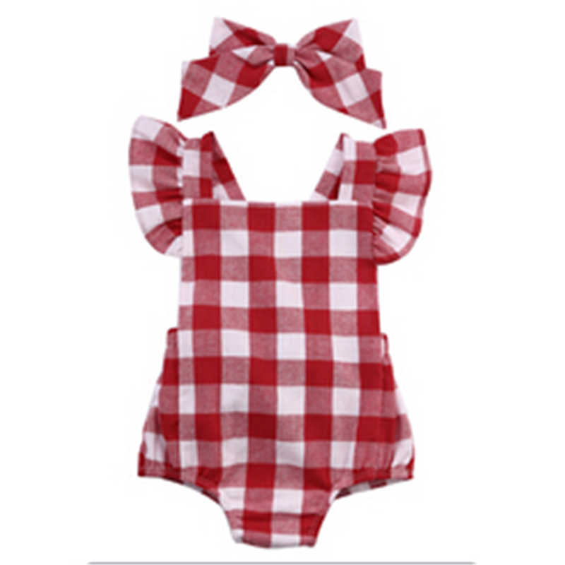 Newborn Infant Kids Baby Girl Red Plaid Romper Jumpsuit With Headband Outfit Clothes 0-18M