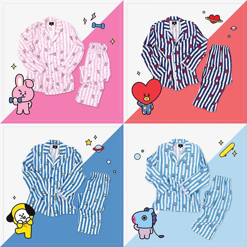 корейская звезда Bt21 Kawaii мультфильм мягкие пижамы Kpop Bts