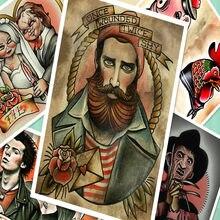 Retro Acconciatura Tatuaggi Patterned Carta kraft Manifesto Adesivi Murali  Art Print Pittura Galleria di Parrucchiere Bar 540347ee523a