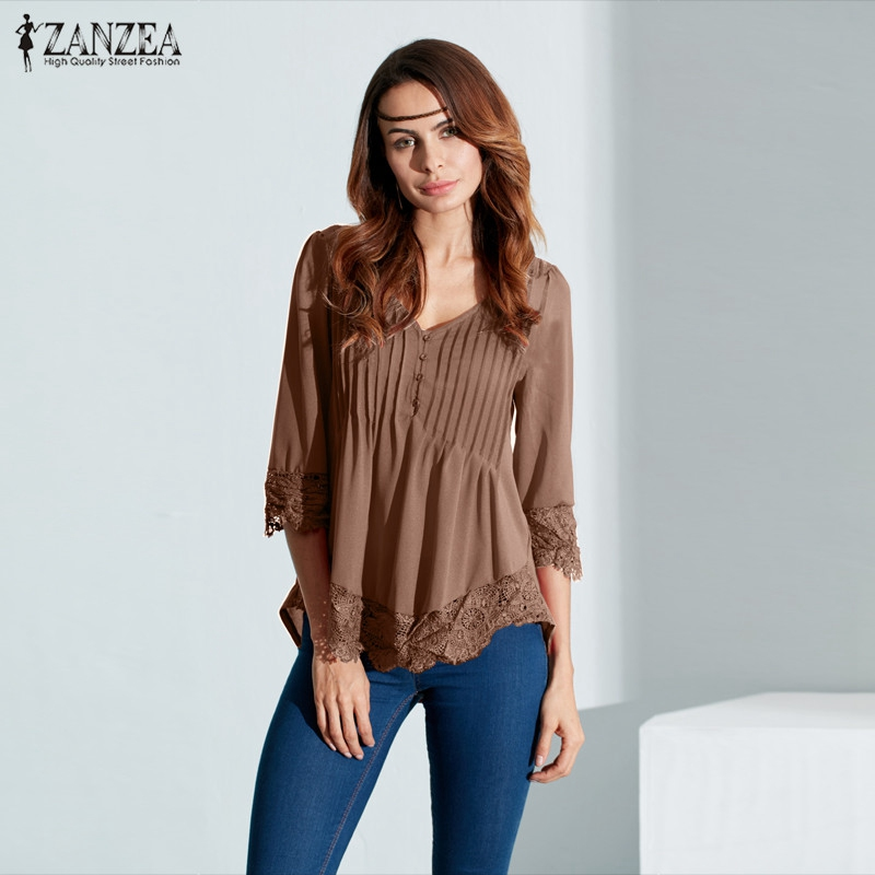 ZANZEA Women Elegant Lace   Blouses     Shirts   2016 Autumn Sexy V Neck 3/4 Sleeve Asymmetrical Blusas Tops Casual Solid Pullovers
