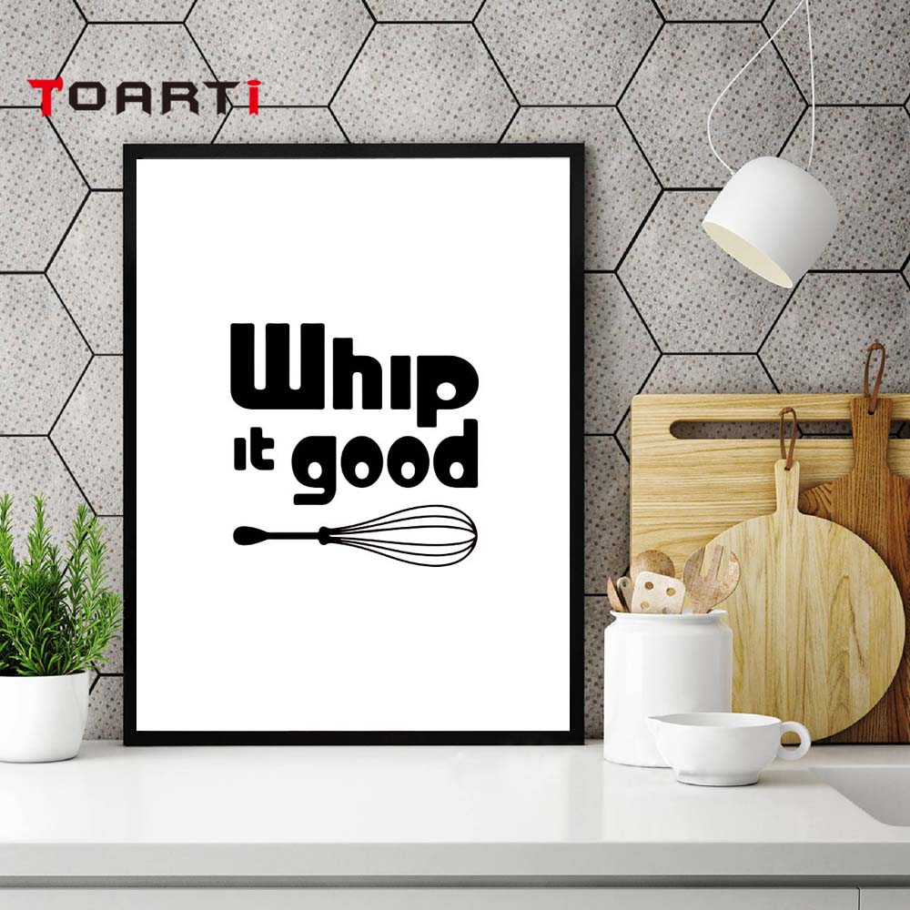 Kitchen Living Wall: Modern Black White Kitchen Quotes A4 Posters Nordic