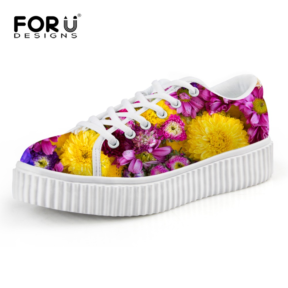 Vintage Women Flat Platform Shoes Colorful Flower Print Woman Creepers Shoes Thick Heel Lace-up Casual Flat Platform Shoes 35-41 flower print flat sliders