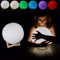 Night Light 3D Print Moon Lamp USB LED Moon Luminaria Gift Remote Control 7 Color Changing
