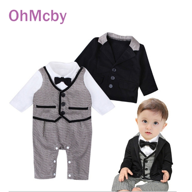 2016 Fashion Gentleman Baby Boy Clothing Set Full Sleeve Coat T-shirt Rompers with bow tie 2-piece/set infant baby Wedding Suit