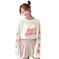 Fiodcrg New 2017 Women Autumn Ulzzang Thin Loose Style Print Peach Heart T Shirt Long Sleeve