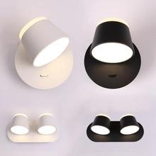 Современные светодио дный помещении Настенные светильники 3 головок затемнения Яркость настольные светильник, светильник металл повернуть декоративное освещение