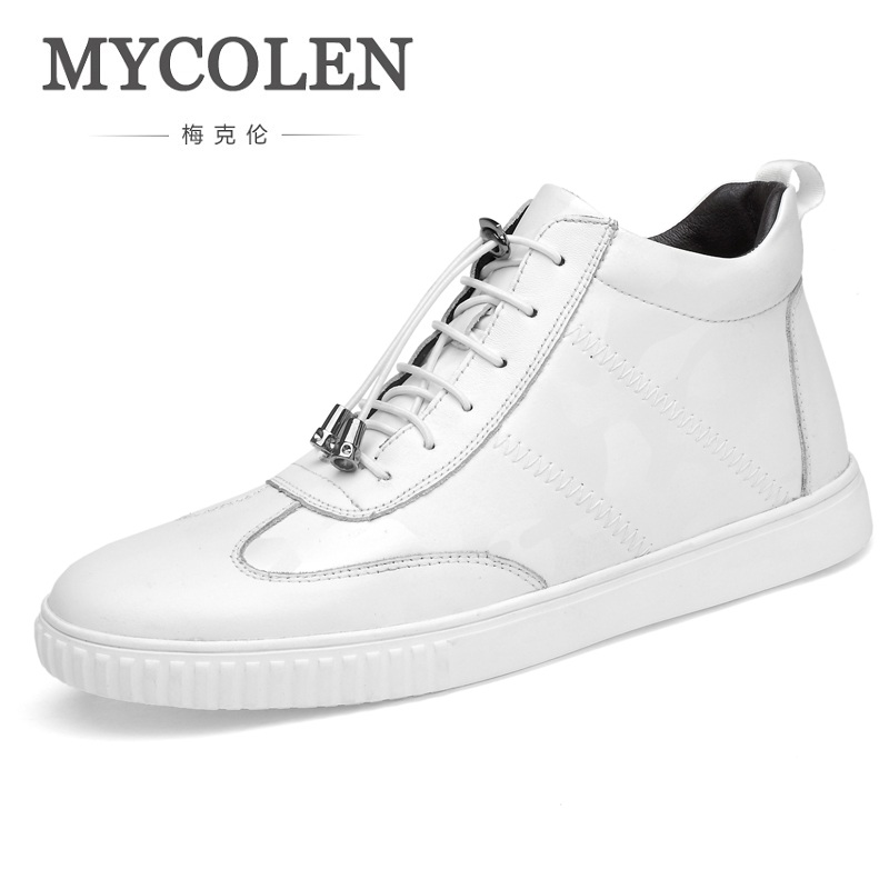 MYCOLEN New Spring/Autumn Genuine Leather Shoes Men Elastic Band Sneakers Fashion Men Shoes Outdoor Walking Casual Shoes 2017 new autumn winter british retro men shoes zipper leather breathable sneaker fashion boots men casual shoes handmade