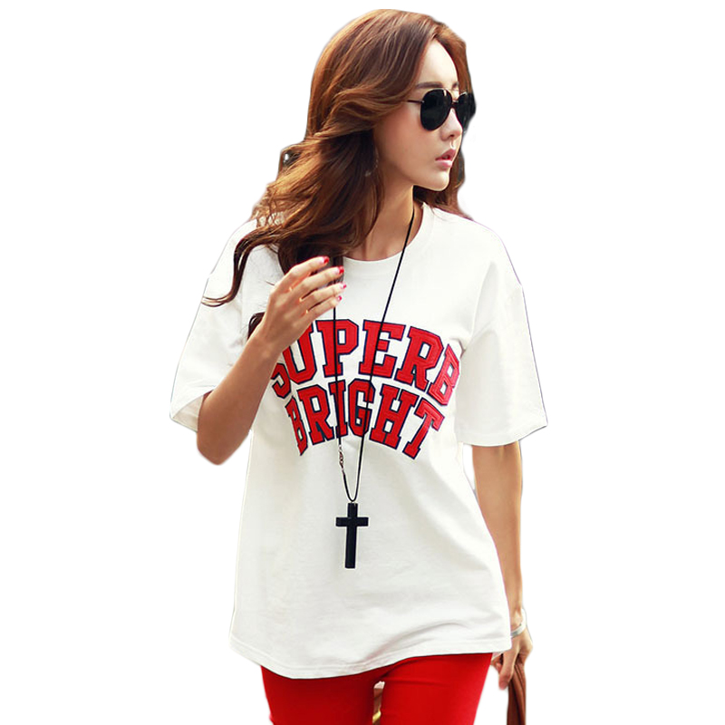 Summer Casual Homme Women Round Neck T-Shirt Short Sleeve Loose T-shirt Superb Bright Letter Print T-shirt Pure Cotton Women Top