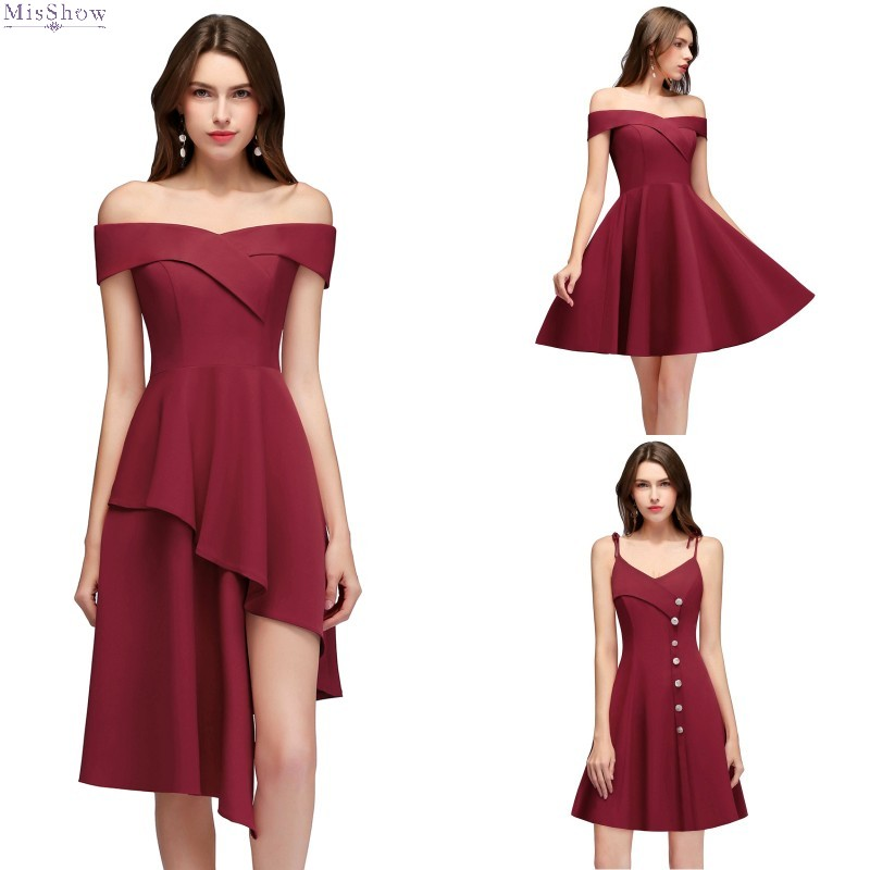 2019 Burgundy Short   Cocktail     Dress   Off The Shoulder Sleeveless Party Gown robe de   cocktail
