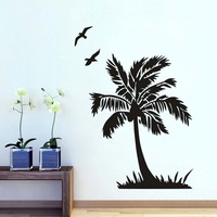 DCTOP Flying Bird And Palm Tree Wall Sticker Seaside Scenery Bathroom Home Decor DIY Vinyl Removable