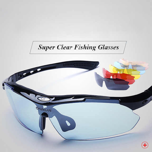 967b2e1783 Polarized Fishing Glasses 5 Lens Watch Fish Float Boxed Eyewear Increased  Clarity Lens Filter Blue Light Anti-UV Sunglasses