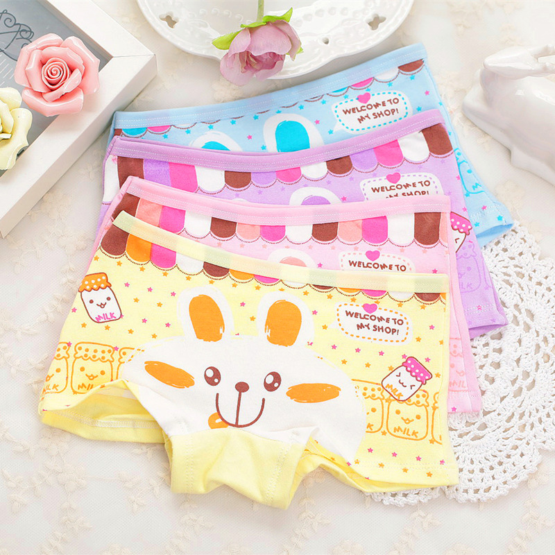 2pcs/lot Girl Underwear Cotton Girls Cute Rabbit Panties Children Cartoon Boxer Underwears Kids Baby Girl Short Briefs
