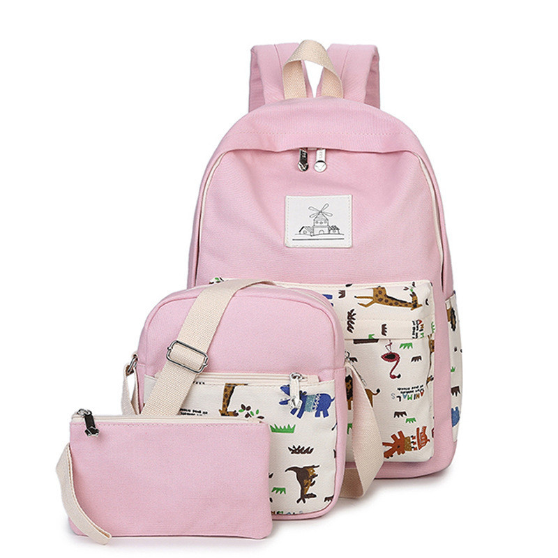 canvas backpack women printing school bag for teenagers girls Preppy Style bags set travel high quality female backpacks purple flowers printed dream teenagers backpack fresh preppy adorable sthdents school bags fashion travel hiking computer bag