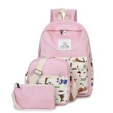 Холст рюкзак женщины печати школьная сумка для подростков девочек элегантный дизайн сумки набор дорожный высокое качество женские рюкзаки